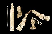 (4 PCS) INUIT BONE CARVINGS - Including: Needle Case with screw-off finial top, red and black scrimshaw, late 19th c, includes leather needle, 3 5/8