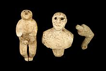 (2 PCS) THULE CARVINGS - 19th c Miniature Full-Length Male Figure & Female Bust with one loose arm, peg waist, 1 5/8