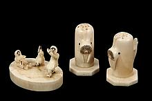 INUIT CARVING, S&P SHAKERS - Small Plateau with three Eskimos dancing, from walrus tusk, 1 7/8