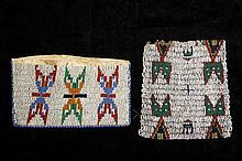 (2 PCS) APACHE BEADWORK - 19th c Buckskin Wallet with three fleches and Deerskin Panel with four spirit figures, 4 1/2