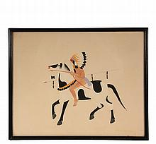 NATIVE AMERICAN PAINTING - Gouache of Chief on Horseback by Julian (Pocano) Martinez (NM, 1897-1943), signed lower right, in black stick frame, under glass, 12