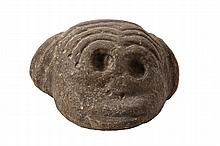 ARAWAK STONE CARVING - Puzzled Monkey Head carved with wrinkled brow, open eye sockets, West Indies, pre-Columbian, roughly 3