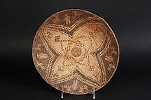 APACHE BASKET - Late 19th c Medium Tray in typical coil built willow and martynia, four leaf pattern with human and horse figures, roughly 2 1/4