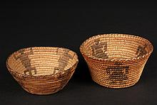 (2) MINIATURE PIMA BASKETS - Both late 19th c, in coil built willow and martynia, conical bowls, one with female human figures, 2 1/8