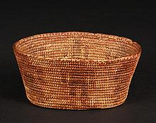MINIATURE PIMA BASKET - Late 19th c, in coil built willow and martynia, conical oval form, with alternating male and female human figures, 2 1/8