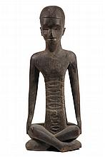LARGE AFRICAN SCULPTURE - Figure of Seated Elder, probably Bembe (Congo), 19th-20th c., with skull cap, beard, stylized square scarified torso, 37 1/2