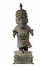 AFRICAN BRONZE STATUE - Benin Bronze Standing Figure of Royal Courtier, in crown with sceptre and vessel, with jewelry, on integral plinth, 19th c. 22