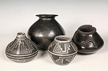 (4 PCS) NATIVE AMERICAN POTTERY - (2) Small Black on Grey Pots by Robert Yazzie, Mesa Verde Navajo, 5
