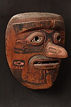 NORTHWEST NATIVE AMERICAN MASK - Very rare circa 1900 mask, most likely Tlingit