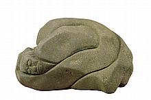 - STONE CARVING - Large Carving of a Shaman going through transformation, crouching, his head wrapped in his arms, facing out. Roughly 9 1/2