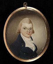 CASED MINIATURE PORTRAIT - Said to be of General James Singleton (1762-1815), Captain of a Virginia troop, 1785, Commander of the 16th Virginia Regiment in the War of 1812. In gold mount with woven hair and gold monog...