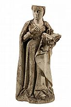 LATE GOTHIC ARCHITECTURAL SCULPTURE - Figure of Mother Mary Holding the Bible, limestone, French or Northern Italian, circa 1400 or later, in full round, typical elegant, mannered form, missing her crown. 41
