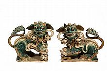 PAIR OF CHINESE POTTERY FOO DOGS - Pottery Guardian Figures in green, gold and brown glaze. Approx. 21
