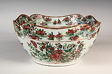 CHINESE PORCELAIN BOWL - Late 18th c. Famille Rose Bowl with squared body and lobed rim, the interior and exterior top band featuring writhing dragons, 4 3/4