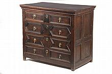 CHEST OF DRAWERS - 18th c. English Oak (4) Drawer Chest, molded and recessed panel drawer fronts with brass pulls and escutcheons, recessed panel sides, set on straight legs, natural old finish, 33 1/2