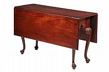 DROP LEAF TABLE - 18th c. American Queen Anne Drop Leaf Table in mahogany with shaped skirt, swing leg supports, pad foot raised on bun. 28