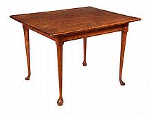 REPLICA TAVERN TABLE - High Quality Solid Tiger Maple Table with overhanging top that has rounded corners and eased edges, two leaves, beaded edge frame, straight tapered legs ending in Queen Anne padded foot