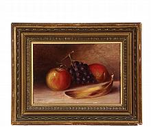 T.R. CULLIN - Still Life with Apple, Grapes and Banana, oil on canvas board, signed lower left and dated 1891. In gold painted cove frame. OS: 10 3/4