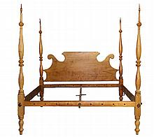 KING-SIZED ROPE BED FROM CONVERTED SHERATON ROPE BED - Solid Maple, with some tiger in the headboard, which has a ram's horn top, the posts are turned ring and urn, with tall spindles, original drilled rope ends, fill..