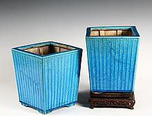 PAIR OF CHINESE POTTERY PLANTERS - Late 19th c