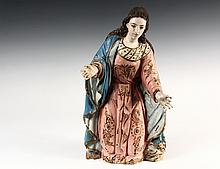 ITALIAN SAINT SCULPTURE - Carved and Polychromed Figure of Saint Theresa in pose of benediction, late 18th to early 19th c. Faded giltwork. 17 3/4
