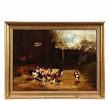 - UNSIGNED PRIMITIVE FARM SCENE - New England Barnyard with Chickens and Chicks Feeding, circa 1890, in gold cove frame, OS: 24 1/2