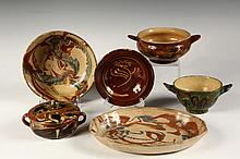 (4 PCS) FRENCH JASPE POTTERY - 19th c, including: Vallauris marked Deep Bowl & Oval Platter, in tan, russet and green glazes, 2 1/2