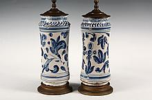 PAIR OF ITALIAN POTTERY BASED LAMPS - Electric Table Lamps with 18th c