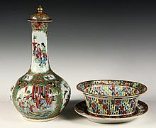 CHINESE PORCELAIN BOTTLE, BASKET & TRAY- Fine quality mid 19th c
