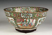 LARGE CHINESE PORCELAIN PUNCH BOWL - Exceptionally Fine circa 1850 Punch Bowl in Famille Rose and Mandarin panel decoration of