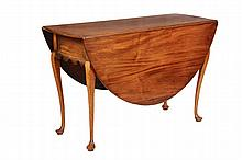 QUEEN ANNE DINING TABLE - Oval Dropleaf Swing Leg Table, Coastal New England, third quarter 18th c