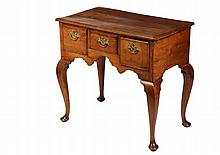 SMALL QUEEN ANNE/GEORGE II LOWBOY - Fruitwood Silver Server having a rectangular molded edge top with shallow drawer flanked by deeper drawers, having molded edges and what appears to be the original brass willow bail...