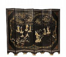CHINESE CORMANDEL SCREEN - Six-Fold Screen in black lacquer with inlaid hardstone decoration having incised gilt landscape, mother-of-pearl geometric edge; depicting a mythological flood, buildings awash, attendants p...