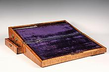 PORTABLE WRITING DESK - Early 19th c. New England Figured Maple Writing Box, opening to a plum velvet slanted writing surface, both leaves hinged to reveal storage, mahogany edged and with mahogany bottle partitions a...