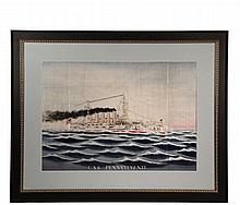 JAPANESE SILK WARSHIP PORTRAIT - Important Japanese export silk embroidered ship portrait of the US Navy Maine Class Battleship USS 'Pennsylvania', which participated in the cruise of