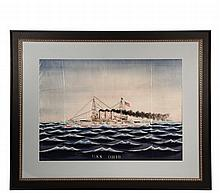 JAPANESE SILK WARSHIP PORTRAIT - Important Japanese export silk embroidered ship portrait of the US Navy Maine Class Battleship USS 'Ohio', which participated in the cruise of