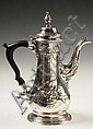 18th C French Repousse Sterling Silver Coffee Pot