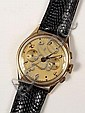Gent's 18K Triple Dial Gold Face Swiss Wristwatch