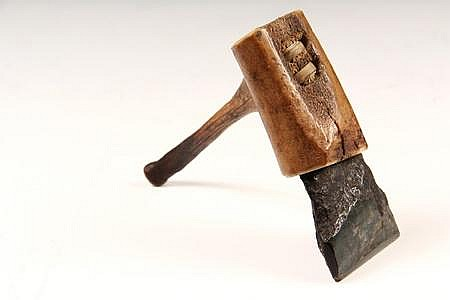 19th C Eskimo Inuit Adze Tool for Igloo Construction