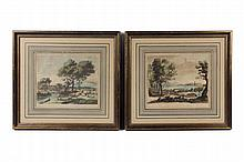 (2) HANDCOLORED ENGRAVINGS - Classical Views, 135 & 137 from 'Liber Veritatis' by Richard Earlam (UK, 1743-1822), after Claude Le Lorrain (FR/IT, 1600-1682). Publ. by John Boydell, London, 1776. SS: 8 1/2