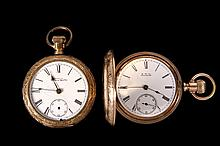 (2) POCKET WATCHES - Lot of (2) Gold Filled American Waltham Pocket Watches. Includes: Hunter cased watch with white porcelain dial and recessed seconds bit, movement marked 'American Waltham Watch Company #4582813' s.