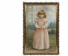 WILLIAM SAMUEL HORTON NY/MI/France, 1865-1936) - Life-Sized Portrait of a Young Blonde Girl in a Pink Dress, pastel on paper, signed lower left