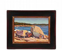 JOSHUA ADAM (Contemporary Castine, Maine); Lobster Float in Rocks, signed