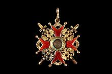 RUSSIAN GOLD MEDAL - Imperial Russian Order of Saint Stanislaus, Military, Third Class Class, in 14k gold with guilloche enamel, having swords and eagles, central enamel