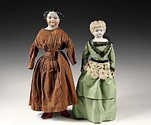 (2) ANTIQUE PORCELAIN DOLLS - Head/Shoulder Dolls, including: 22