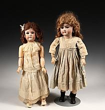 (2) ANTIQUE BISQUE HEADED DOLLS - 24