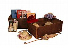 ANTIQUE DOLL TRUNK WITH HATS, REF BOOKS & (3) MINIATURE DOLLS - Leather Trimmed Canvas Trunk, containing 2 1/2