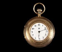 LADY'S POCKET WATCH - Demi-Hunter 14K Yellow Gold Case American Waltham Pocket Watch, fancy engraved case back with monogram dated June 20, 1886. 1 3/4