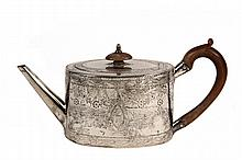 IRISH TEAPOT - Irish Sterling Silver George III Period Teapot, with floral engraved decoration, hallmarked for Dublin by James Keating, c. 1790-1800. 13.35 ozt tw; 5 1/2