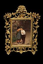 THEODOR GUSTAV ERNST SCHMIDT (Germany, 1855-1937); Genre Scene of Young Love, a framed Berlin KPM Plaque, signed lower left
